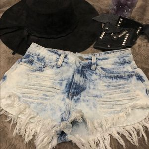 Celio Jeans High Wasted Distressed Denim Shorts